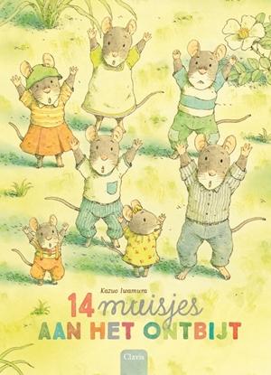 Afbeeldingen van 14 muisjes aan het ontbijt