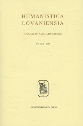 Afbeeldingen van Humanistica Lovaniensia Humanistica lovaniensia Volume LXII 2013