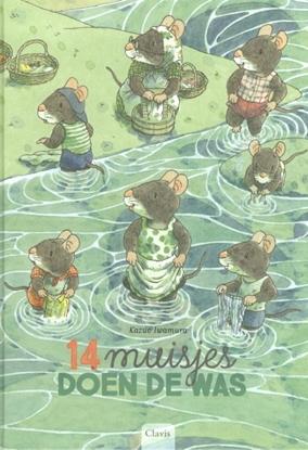 Afbeeldingen van 14 muisjes doen de was